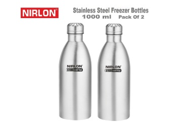 d7db35e787e Nirlon Stainless Steel (1000Ml) Sports Water Bottle (Set Of 2) at Rs ...
